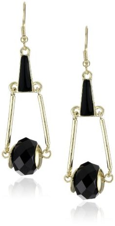 "French Connection ""Opium"" Facet Deco Swing Drop Earrings   $45"
