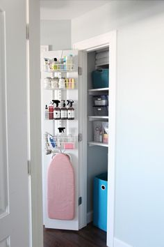 Organized Linen Closet, Small ironing board