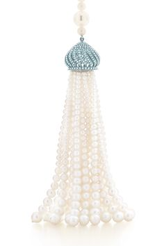 A tassel pendant of pearls and diamonds from the Blue Book collection. Tiffany & Co.
