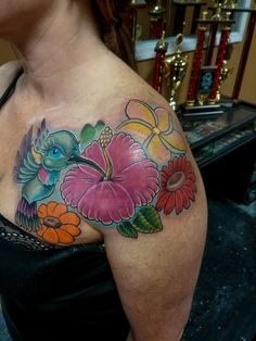 Another beautiful hummingbird and flower piece...We are a tattoo shop located in Panama City FL near Panama City Beach. We have some of the best artist or artists in the area.  #tattoo #tattoos #besttattoosaround #panamacityflorida #gulfcoast #baycounty #tattooshop #tattoostudio #best #cool #awesome #panamacity #panama #pcb #panamacitybeach #beach #picoftheday #flowers #flower #flowertattoo #bird #hummingbird #hummingbirdtattoo