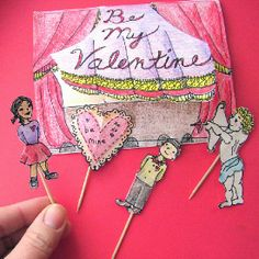 Make your own unique stick puppet valentine card for someone special.