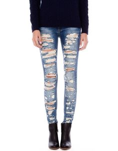 RIPPED SKINNY LEG JEANS - NEW PRODUCTS - WOMAN - PULL Israel