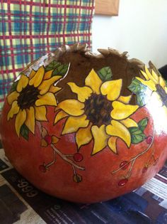 Handcrafted Sunflower Gourd Bowl