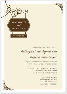 Signature White Textured Wedding Invitations Wedding Sign - Front : Chocolate