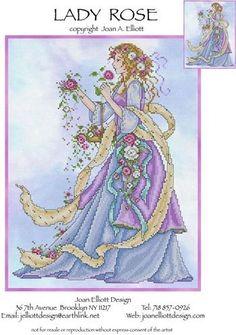 0 point de croix femme et roses - cross stitch lady with roses