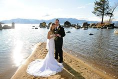 What could be more beautiful than your destination wedding on the beach at Zephyr Cove? South Lake Tahoe never looked so stunning. High Mountain Photography #beachwedding #destinationwedding www.tahoeweddingsites.com
