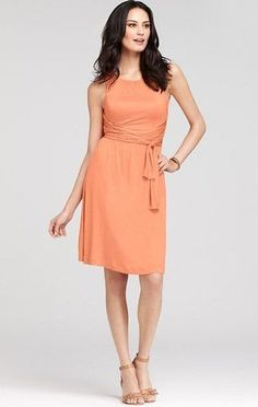 Ann Taylor Peach Soft Jersey Ruched Halter Wrap Sash Dress  SO cute in person!