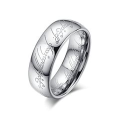 HAMANY 8MM Men's Tungsten Carbide Bible Ring Wedding Band,Silver/Gold