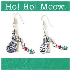 Holiday Cat Earrings 925 Sterling Silver Wires by RubyAppleJewelry