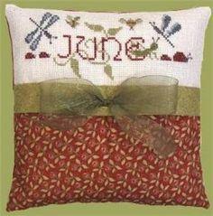 June Cross Stitch Pillow