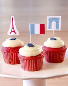 Bastille Day Cupcake Toppers