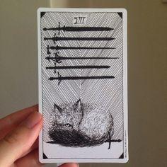 Seven of Swords Wild Unknown Tarot card meaning http://happyfishtarot.com/blog/seven-of-swords-wild-unknown-tarot-card-meanings/