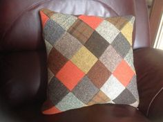 Harris Tweed Patchwork Cushion/ Pillow Cover by PoppyMallow Diy Cushion, Cushion Covers, Pillow Covers, Cushion Pillow, Burlap Pillows, Wool Pillows, Throw Pillows, Decorative Pillows, Applique Cushions