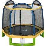 The Jump Zone 7 ft My First Trampoline Round with Enclosure features 6 plastic legs and a zippered enclosure entrance.