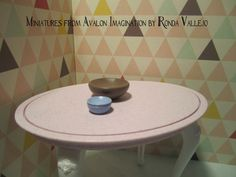 Miniature dollhouse Bowl Set in Cocoa Brown and Blue