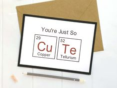 Excited to share this item from my shop: Periodic Table Card, Geek Card, Geek Gifts, Geeky Gifts For Him, Nerd Card