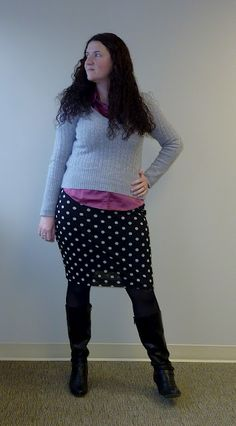 polka dot skirt, gray sweater, pink top, black boots