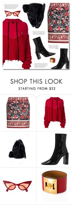 """""""Black and Red"""" by defivirda ❤ liked on Polyvore featuring Unravel and Hermès"""
