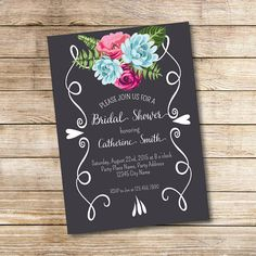 Floral Chalkboard Bridal Shower Invitation by Hens Night Invitations, Bridal Shower Invitations, Party Invitations, Wedding Cards, Our Wedding, Wedding Ideas, Bridal Shower Chalkboard, Party Places, Graduation Decorations