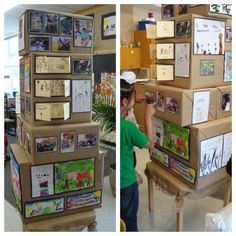 Using boxes to display children's artwork  From Crayons, Wands and Building Blocks. http://crayonswandsandbuildingblocks.wordpress.com/2013/06/30/the-we-are-project/