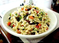 """Mini Bowtie Mediterranean Salad 