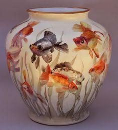 orange - fishes - vase - ceramic - Karl un Paye Fine Porcelain, Porcelain Ceramics, Ceramic Vase, Painted Porcelain, Porcelain Tiles, China Painting, Ceramic Painting, Japanese Porcelain, Glazes For Pottery
