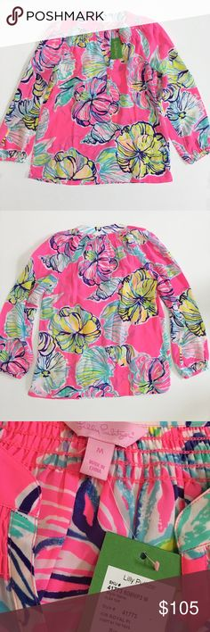 NWT - Lilly Pulitzer Elsa top NWT - Lilly Pulitzer Elsa top in Swept by the Tides print. 100% silk. Front gold buttons with Lilly logo. You can wear the Elsa Top tucked in or worn out, sleeves pushed up or blissfully long, styled with a belt over leggings, peeking out from under a blazer, draped over the top of a pencil skirt...Elsa is one shirt with an endless number of looks year-round. Lilly Pulitzer Tops Blouses