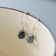 ► See shipping times on main shop page before ordering! http://www.elephantine.etsy.com    Translucent, dark blue teardrops are suspended from 14k