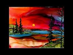Alcohol Ink birch tree painting on tile by Jewel - YouTube