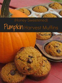 {Honey Sweetened} Pumpkin Harvest Muffins Recipe :: AmysFinerThings.com