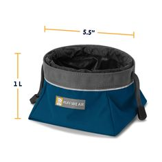 RUFFFWEAR Quencher Cinch Top Collapsible Bowl for Dogs Blue Moon Medium * Check this awesome product by going to the link at the image. (This is an affiliate link) #automaticdogfeeder