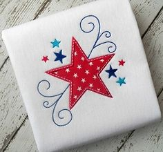 Swirly Star Applique - 4 Sizes! | 4th of July | Machine Embroidery Designs | SWAKembroidery.com