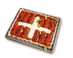 1.-August-Wähe - Rezeptdatenbank - Swissmilk Swiss National Day, Swiss Days, Swiss Recipes, Bruschetta, Switzerland, Watermelon, Waffles, Fruit, Vegetables
