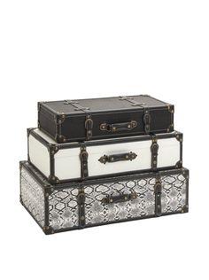 Set of 3 Aberdeen Storage Trunks, Black/White at MYHABIT