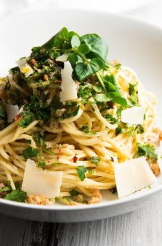 Garlic Butter White Wine Pasta with fresh herbs, breadcrumbs, lemon and cheese.