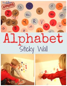 Toddler Approved!: Alphabet Sticky Wall. How else do you like to use sticky walls for learning?