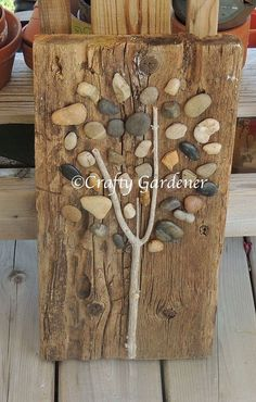I've been Creative and Crafty lately and I've just Created a tree out of wood and stones. It was a simple project to make and … I've been Creative and Crafty lately and I've just Created a tree out of wood and stones. It was a simple project to make and … Into The Woods, Wood Projects, Woodworking Projects, Woodworking Plans, Simple Projects, Family Art Projects, Simple Crafts, Woodworking Store, Woodworking Patterns