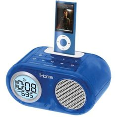 iHOME  iPod Translucent Dual Alarm Clock (Blue). Dual alarm allows user to wake to separate iPod or buzzer alarms