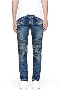 Balmain Blue Distressed Painted Biker Jeans for men | SSENSE