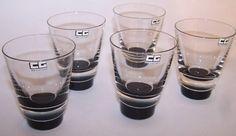 Caithness Glass Scaraben sherry/ shot glasses| designed by Domhnall OBroin c1962 Caithness Glass, Shot Glasses, Pint Glass, Tableware, Design, Dinnerware, Beer Glassware, Tablewares