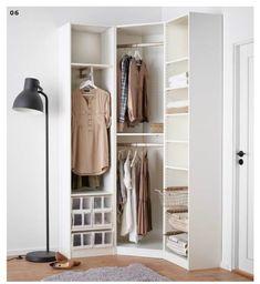 L-wardrobe for tight corners Corner Wardrobe Closet, Ikea Pax Wardrobe, Wardrobe Room, Wardrobe Storage, Wardrobe Small Bedroom, Small Closets, Small Room Bedroom, Closet Bedroom, Home Decor Bedroom