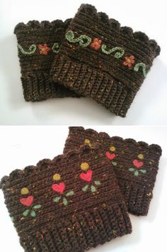 Embellished boot cuffs, free pattern from Mia's Heartful Hands with several other informative links.  Top pair were embroidered, bottom pair the hearts were needle felted.  Very pretty!   . . . .   ღTrish W ~ http://www.pinterest.com/trishw/  . . . .   #crochet #boot_cuffs #embellishment