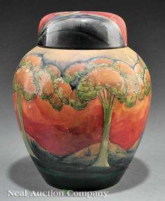 "William Moorcroft ""Eventide"" Art Pottery Vase, c. 1920, fully marked, ginger jar form with landscape tree decoration"