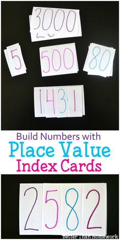 Use index cards to create a fun place value activity for elementary kids. They'll build numbers while learning all about the place value of each number. Place Value Cards, Math Place Value, Place Values, Place Value Activities, Educational Activities For Kids, Math For Kids, Fun Math, Math 2, Decimal