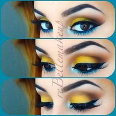 Blue and yellow Shades Eye Makeup Ideas 2018-2019