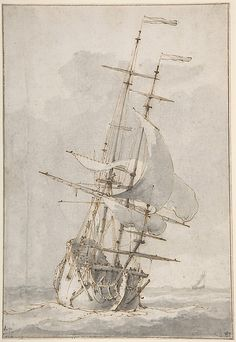 A Ship at Sea: Ludolf Bakhuizen (Dutch, Emden 1630–1708 Amsterdam) Date: mid-17th–early 18th century