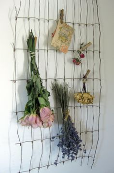 vintage fencing -dried flowers -in the laundry room or studio to dry herbs