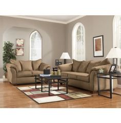 This large sofa and loveseat group boasts a classic frame for Living room furniture sets michigan