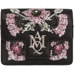 Alexander Mcqueen Women Insignia Mini Silk Satin Chain Clutch ($1,730) ❤ liked on Polyvore featuring bags, handbags, clutches, alexander mcqueen, alexander mcqueen purse, mini handbags, chain strap handbag and chain strap purse