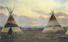 Black Buffalo and otter tipis. Blackfoot/Siksika camp. Montana. ca. 1908. Glass lantern slide by Walter McClintock.